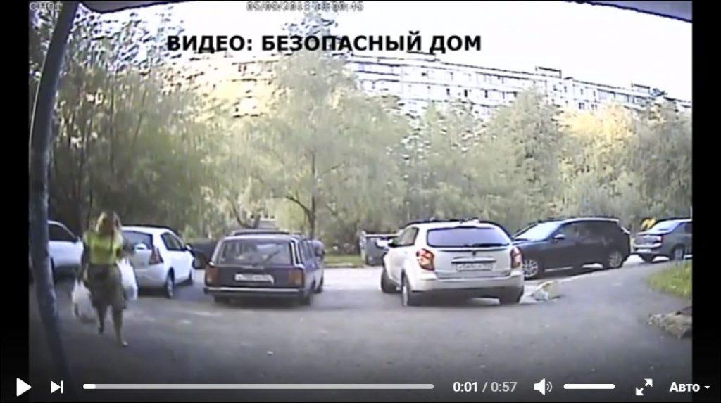 Опубликовано видео падающей на жительницу дома бетонной плиты