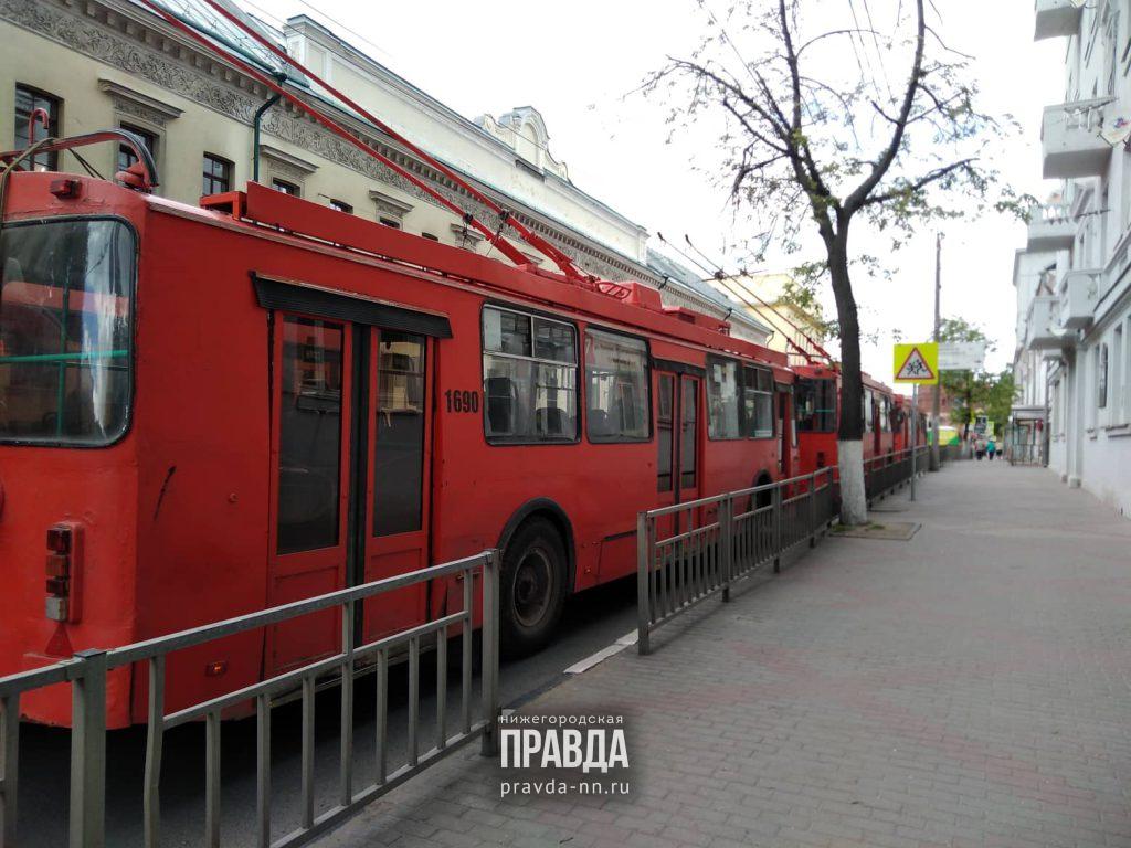 Троллейбусы встали в центре Нижнего Новгорода